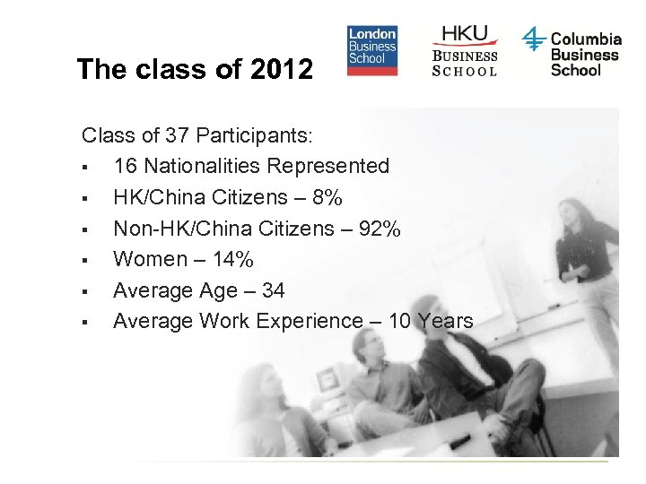 The class of 2012 Class of 37 Participants: § 16 Nationalities Represented § HK/China