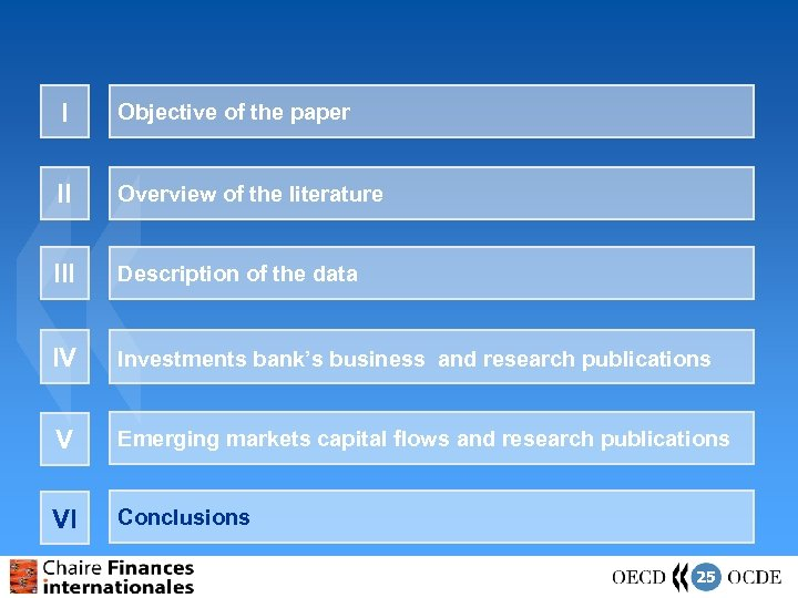 I Objective of the paper II Overview of the literature III Description of the