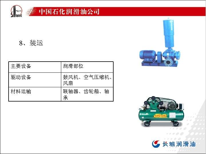 8、装运 主要设备 润滑部位 驱动设备 鼓风机、空气压缩机、 风扇 材料运输 联轴器、齿轮箱、轴 承