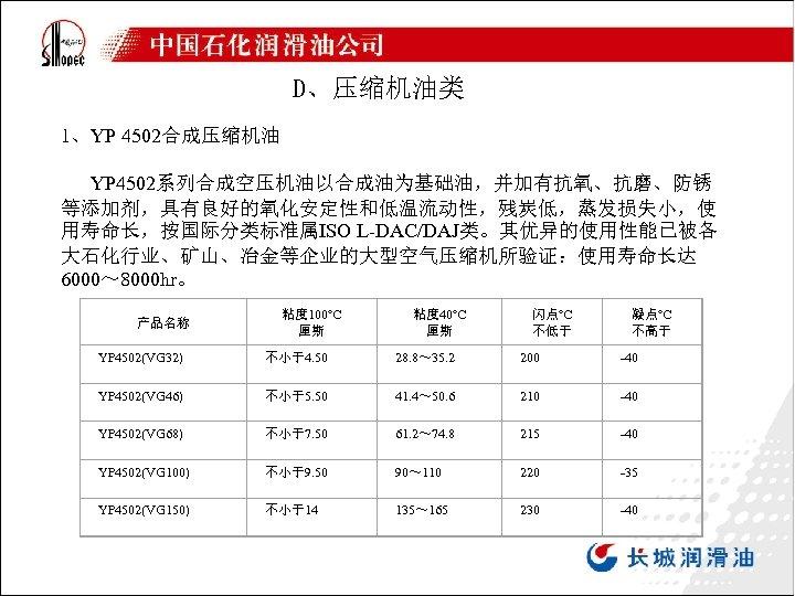 D、压缩机油类 1、YP 4502合成压缩机油 YP 4502系列合成空压机油以合成油为基础油,并加有抗氧、抗磨、防锈 等添加剂,具有良好的氧化安定性和低温流动性,残炭低,蒸发损失小,使 用寿命长,按国际分类标准属ISO L-DAC/DAJ类。其优异的使用性能已被各 大石化行业、矿山、冶金等企业的大型空气压缩机所验证:使用寿命长达 6000~ 8000 hr。 产品名称 粘度