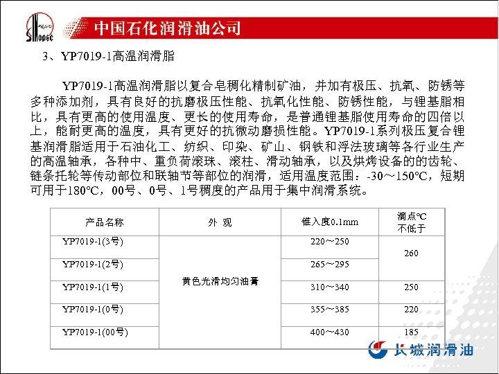 3、YP 7019 -1高温润滑脂 YP 7019 -1高温润滑脂以复合皂稠化精制矿油,并加有极压、抗氧、防锈等 多种添加剂,具有良好的抗磨极压性能、抗氧化性能、防锈性能,与锂基脂相 比,具有更高的使用温度、更长的使用寿命,是普通锂基脂使用寿命的四倍以 上,能耐更高的温度,具有更好的抗微动磨损性能。YP 7019 -1系列极压复合锂 基润滑脂适用于石油化 、纺织、印染、矿山、钢铁和浮法玻璃等各行业生产 的高温轴承,各种中、重负荷滚珠、滚柱、滑动轴承,以及烘烤设备的的齿轮、