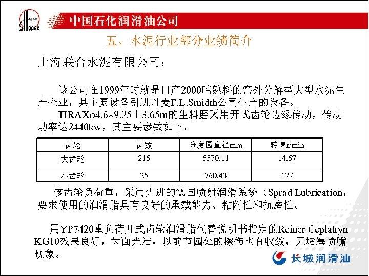 五、水泥行业部分业绩简介 上海联合水泥有限公司: 该公司在 1999年时就是日产 2000吨熟料的窑外分解型大型水泥生 产企业,其主要设备引进丹麦F. L. Smidth公司生产的设备。 TIRAXφ4. 6× 9. 25+3. 65 m的生料磨采用开式齿轮边缘传动,传动