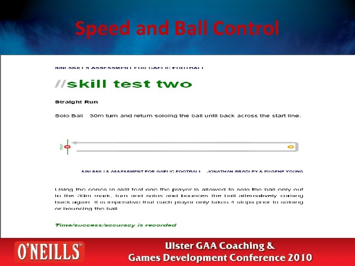 Speed and Ball Control