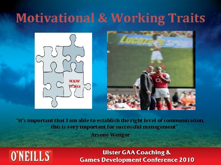 """Motivational & Working Traits M&W Traits """"it's important that I am able to establish"""