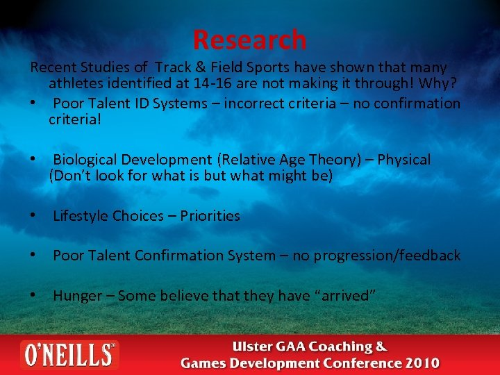 Research Recent Studies of Track & Field Sports have shown that many athletes identified