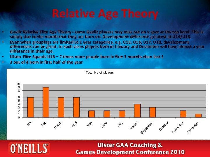 Relative Age Theory • • Gaelic Relative Elite Age Theory - some Gaelic players