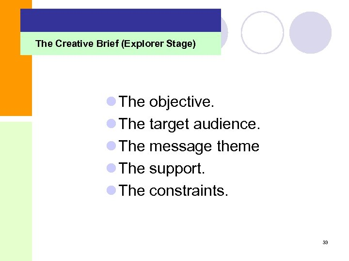 The Creative Brief (Explorer Stage) l The objective. l The target audience. l The