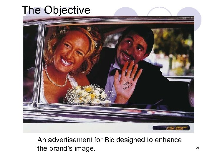 The Objective An advertisement for Bic designed to enhance the brand's image. 34