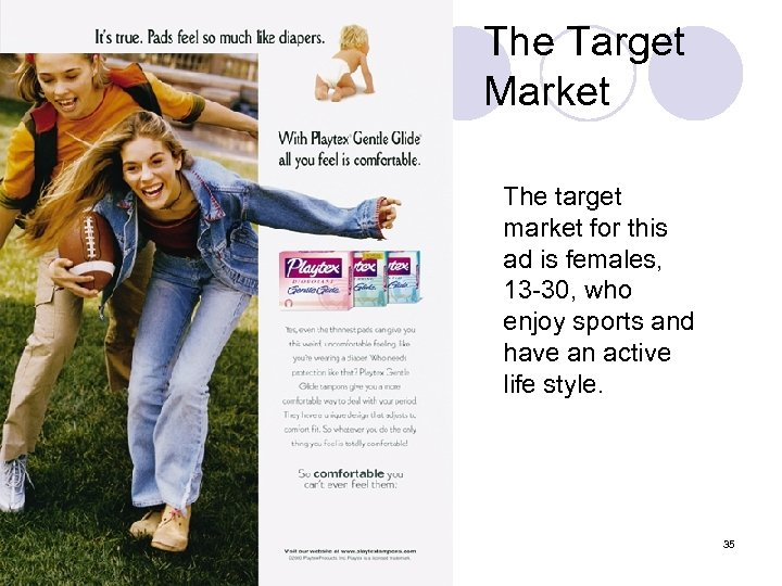 The Target Market The target market for this ad is females, 13 -30, who