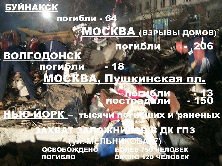 БУЙНАКСК погибли - 64 МОСКВА ВОЛГОДОНСК погибли (ВЗРЫВЫ ДОМОВ) погибли - 206 - 18
