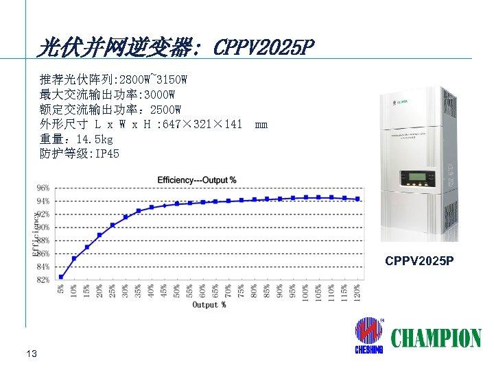 光伏并网逆变器: CPPV 2025 P 推荐光伏阵列: 2800 W~3150 W 最大交流输出功率: 3000 W 额定交流输出功率: 2500 W
