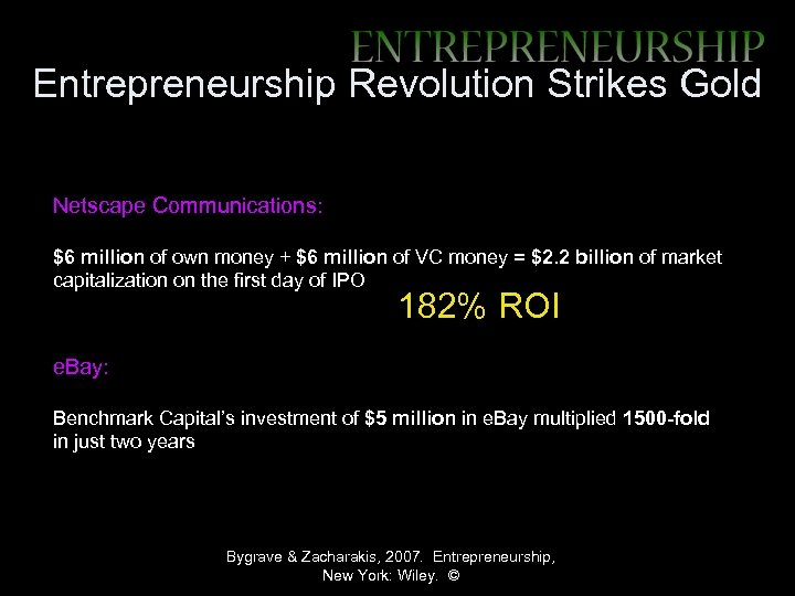 Entrepreneurship Revolution Strikes Gold Netscape Communications: $6 million of own money + $6 million