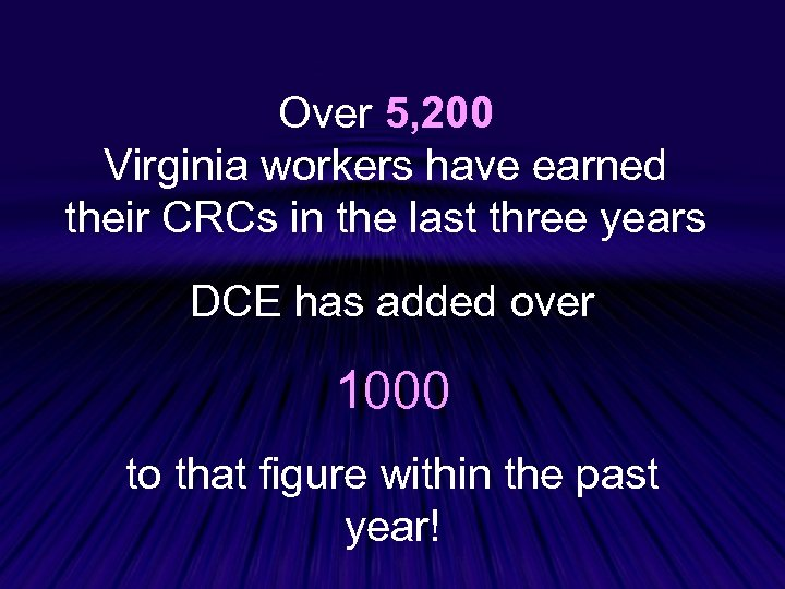 Over 5, 200 Virginia workers have earned their CRCs in the last three years