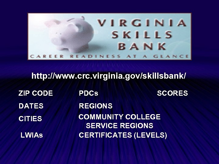 http: //www. crc. virginia. gov/skillsbank/ ZIP CODE PDCs DATES REGIONS COMMUNITY COLLEGE SERVICE REGIONS