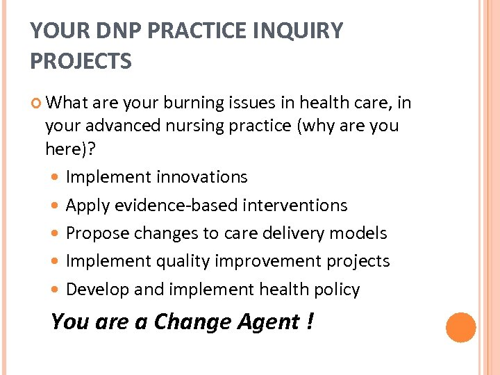 YOUR DNP PRACTICE INQUIRY PROJECTS What are your burning issues in health care, in