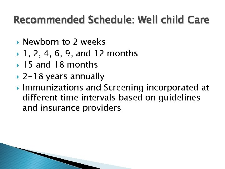 Recommended Schedule: Well child Care Newborn to 2 weeks 1, 2, 4, 6, 9,