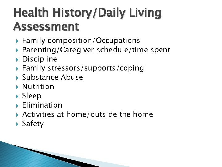 Health History/Daily Living Assessment Family composition/Occupations Parenting/Caregiver schedule/time spent Discipline Family stressors/supports/coping Substance Abuse