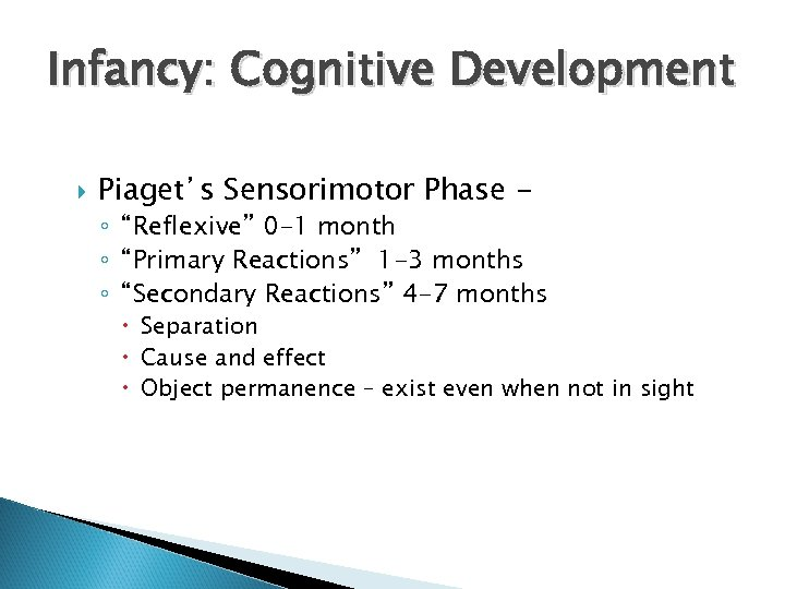 "Infancy: Cognitive Development Piaget's Sensorimotor Phase - ◦ ""Reflexive"" 0 -1 month ◦ ""Primary"