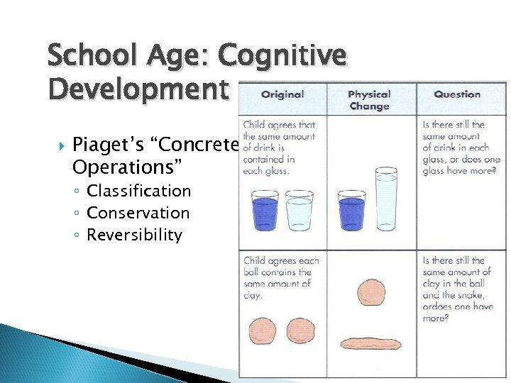 """School Age: Cognitive Development Piaget's """"Concrete Operations"""" ◦ Classification ◦ Conservation ◦ Reversibility"""