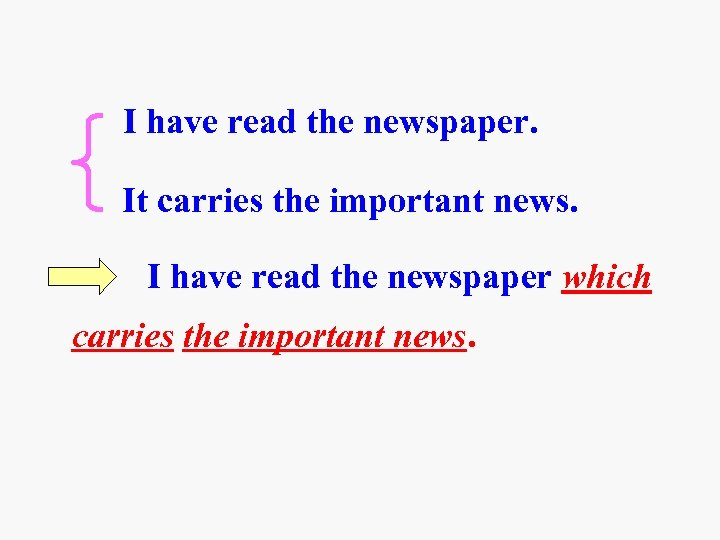 I have read the newspaper. It carries the important news. I have read the