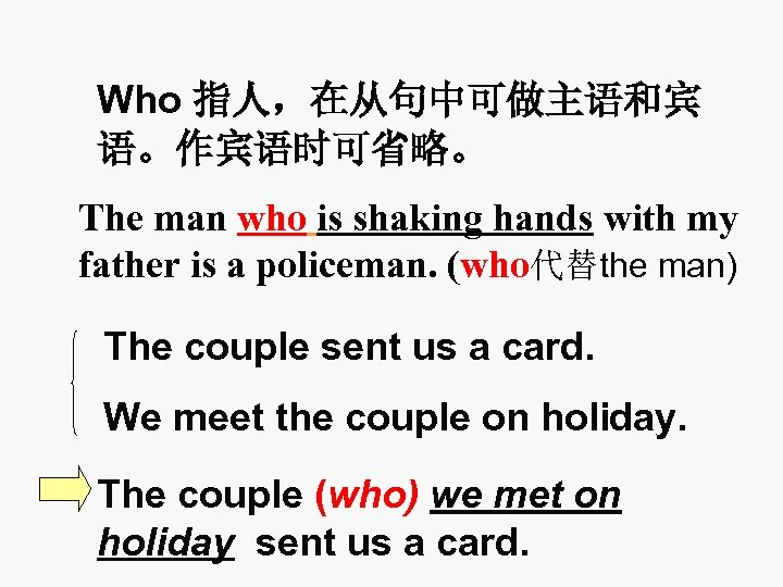 Who 指人,在从句中可做主语和宾 语。作宾语时可省略。 The man who is shaking hands with my father is a