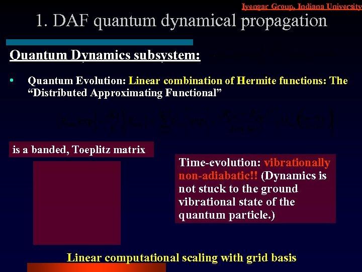 Iyengar Group, Indiana University 1. DAF quantum dynamical propagation Quantum Dynamics subsystem: • Quantum