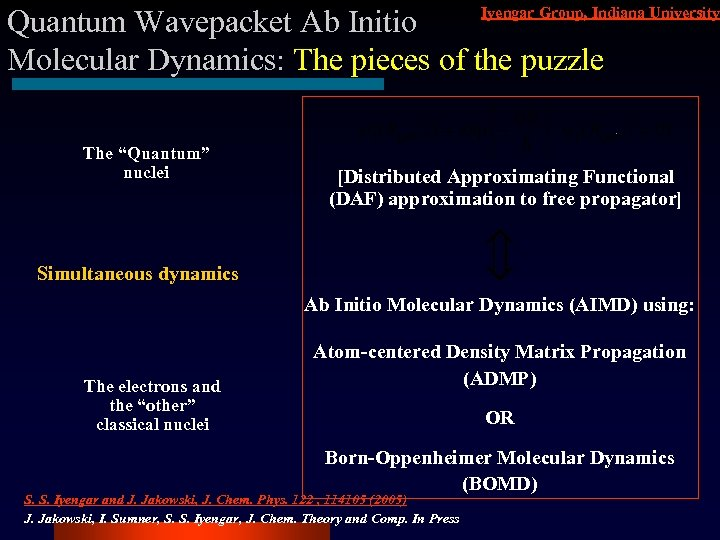 Iyengar Group, Indiana University Quantum Wavepacket Ab Initio Molecular Dynamics: The pieces of the