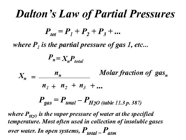 Dalton's Law of Partial Pressures Ptot = P 1 + P 2 + P