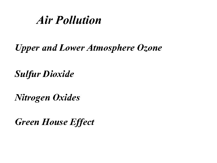 Air Pollution Upper and Lower Atmosphere Ozone Sulfur Dioxide Nitrogen Oxides Green House Effect