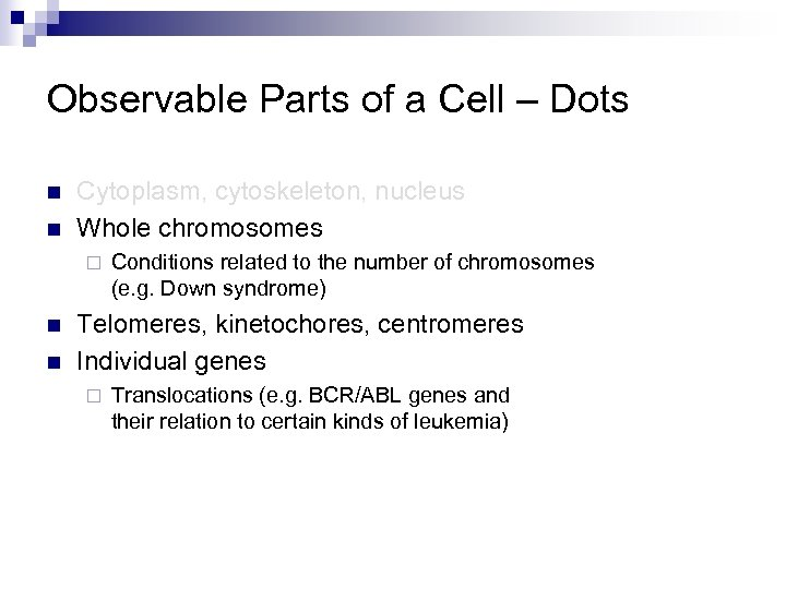 Observable Parts of a Cell – Dots n n Cytoplasm, cytoskeleton, nucleus Whole chromosomes