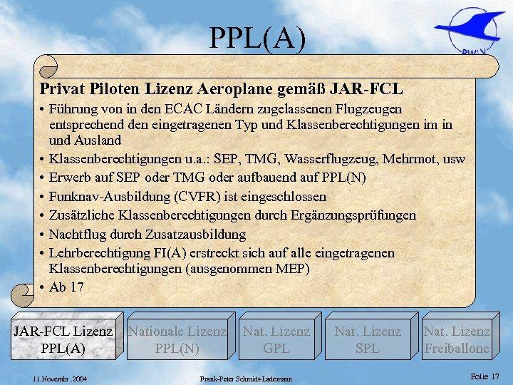 PPL(A) Privat Piloten Lizenz Aeroplane gemäß JAR-FCL • Führung von in den ECAC Ländern