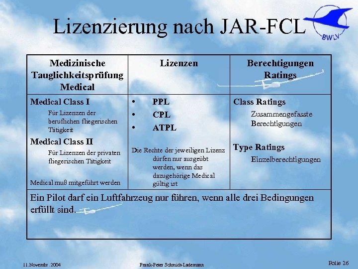 Lizenzierung nach JAR-FCL Medizinische Tauglichkeitsprüfung Medical Class I Für Lizenzen der beruflichen fliegerischen Tätigkeit
