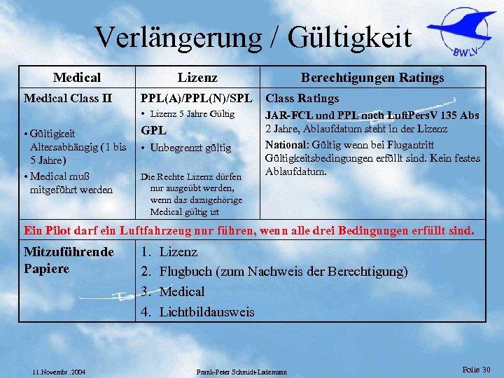 Verlängerung / Gültigkeit Medical Class II Lizenz Berechtigungen Ratings PPL(A)/PPL(N)/SPL Class Ratings • Lizenz