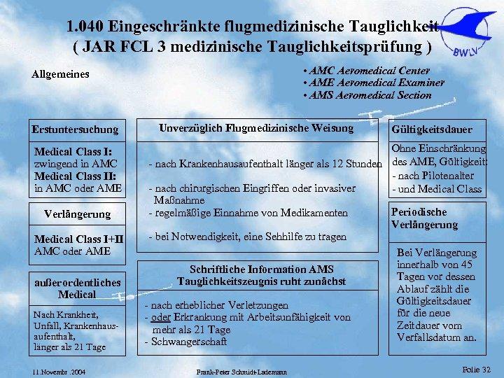 1. 040 Eingeschränkte flugmedizinische Tauglichkeit ( JAR FCL 3 medizinische Tauglichkeitsprüfung ) • AMC