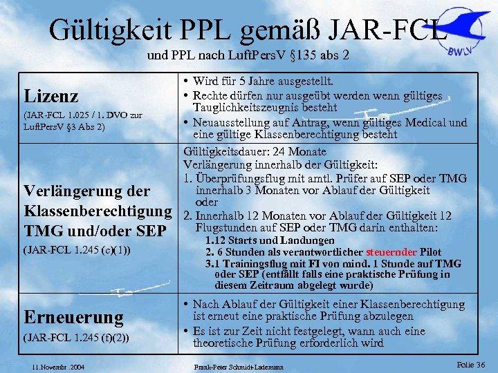 Gültigkeit PPL gemäß JAR-FCL und PPL nach Luft. Pers. V § 135 abs 2