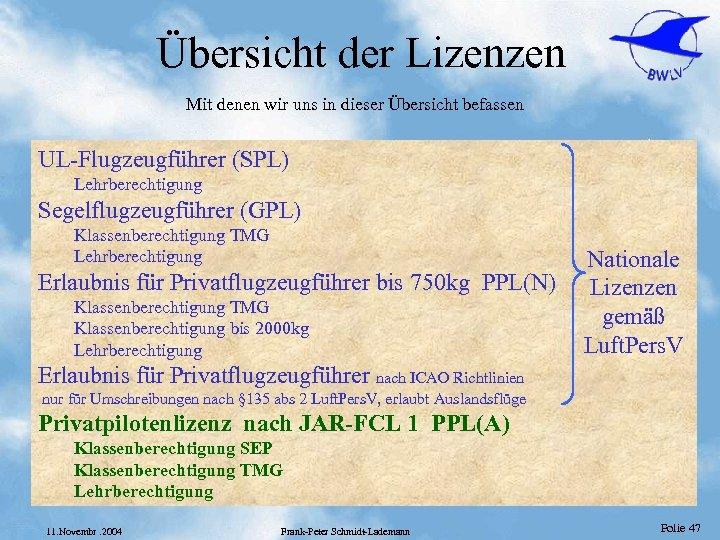 Übersicht der Lizenzen Mit denen wir uns in dieser Übersicht befassen UL-Flugzeugführer (SPL) Lehrberechtigung
