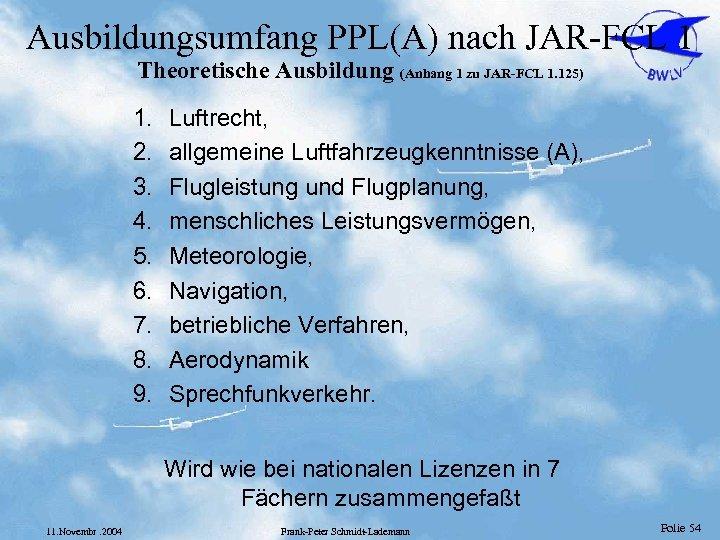Ausbildungsumfang PPL(A) nach JAR-FCL 1 Theoretische Ausbildung (Anhang 1 zu JAR-FCL 1. 125) 1.