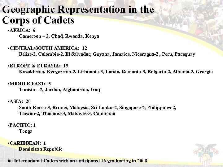 Geographic Representation in the Corps of Cadets • AFRICA: 6 Cameroon – 3, Chad,