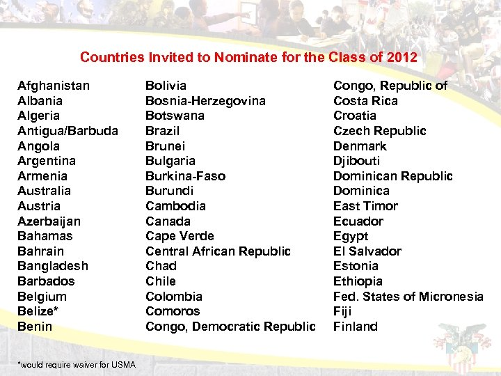 Countries Invited to Nominate for the Class of 2012 Afghanistan Albania Algeria Antigua/Barbuda Angola