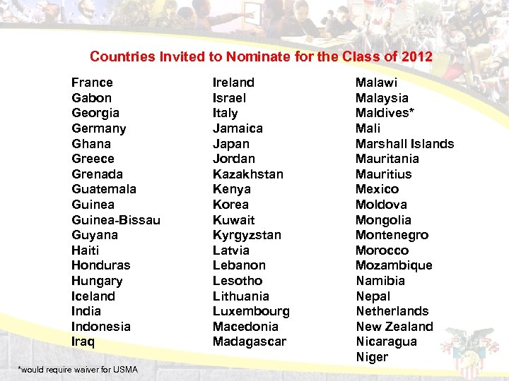 Countries Invited to Nominate for the Class of 2012 France Gabon Georgia Germany Ghana
