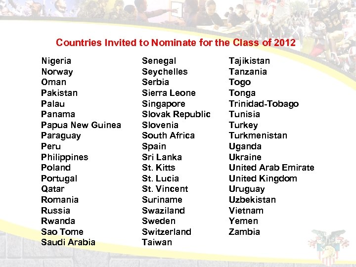 Countries Invited to Nominate for the Class of 2012 Nigeria Norway Oman Pakistan Palau