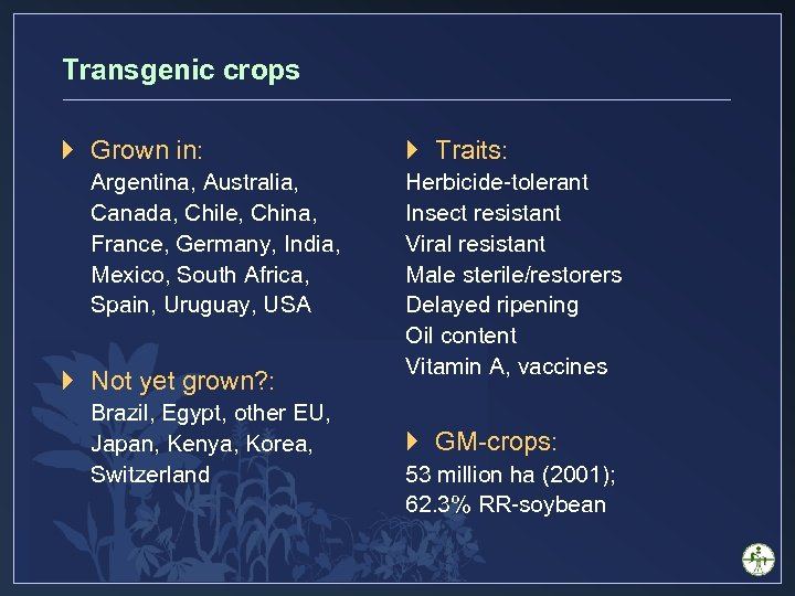 Transgenic crops } Grown in: Argentina, Australia, Canada, Chile, China, France, Germany, India, Mexico,