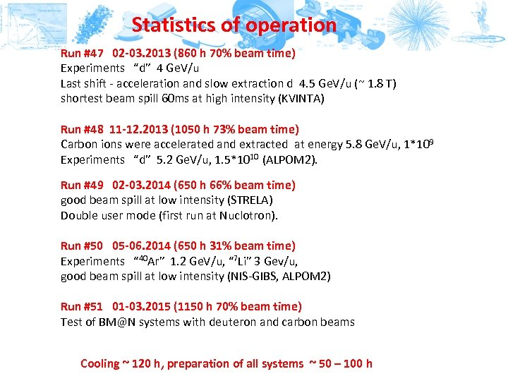 Statistics of operation Run #47 02 -03. 2013 (860 h 70% beam time) Experiments