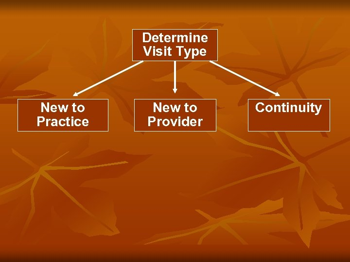Determine Visit Type New to Practice New to Provider Continuity tt