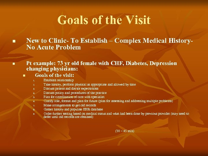 Goals of the Visit New to Clinic- To Establish – Complex Medical History. No