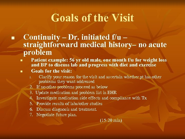 Goals of the Visit Continuity – Dr. initiated f/u – straightforward medical history– no