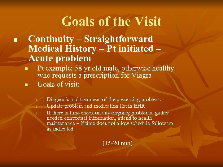 Goals of the Visit Continuity – Straightforward Medical History – Pt initiated – Acute