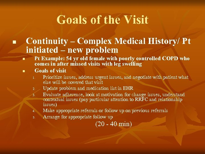Goals of the Visit Continuity – Complex Medical History/ Pt initiated – new problem