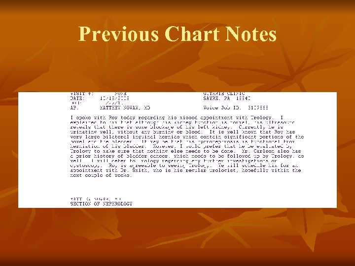 Previous Chart Notes