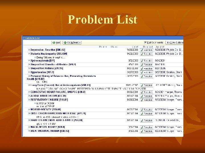 Problem List